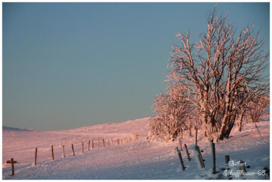 Coucher du soleil sur les crêtes le 21.01.2012