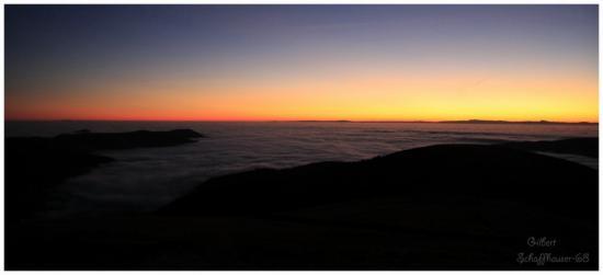 Lever du soleil vue du Hohneck sur la vallée de Munster