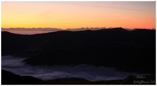 Vue du Hohneck sur les Alpes